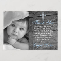 Rustic Wood Vintage Cross Photo Baptism Thank You