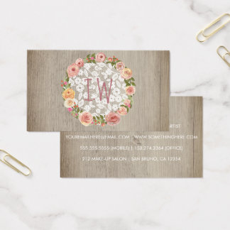 Rustic Wood Vintage Floral White Lace Elegant Business Card