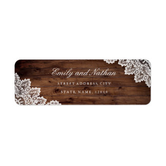 Rustic Wood Vintage Lace Return Address Label