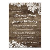 Rustic Wood & Vintage Lace Wedding Invitation