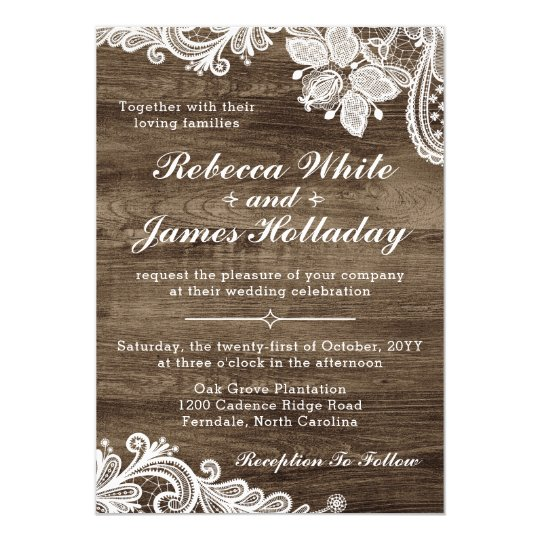 Rustic Wood Amp Vintage Lace Wedding Invitation Zazzle Com