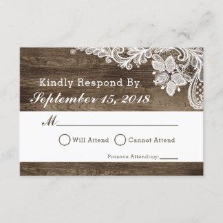 Rustic Wood & Vintage Lace Wedding Invitation RSVP