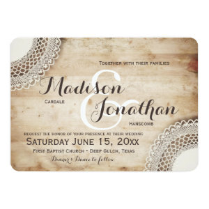 Rustic Wood Vintage Lace Wedding Invitations