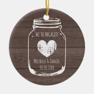 Rustic wood vintage mason jar engagement Christmas Ceramic Ornament