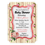 Rustic Wood Vintage Roses Baby Shower for Girl Card