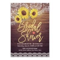 Rustic Wood Vintage Sunflowers Lace Bridal Shower Invitation