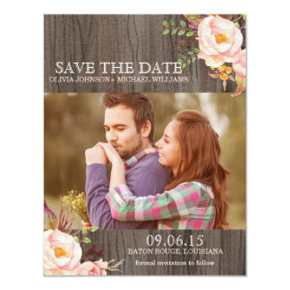 Rustic Wood Watercolor Save the Date Announcements
