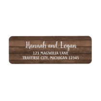 Rustic Wood Wedding Address Label