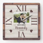 Rustic Wood Wedding Anniversary Couple Photo Square Wall Clock