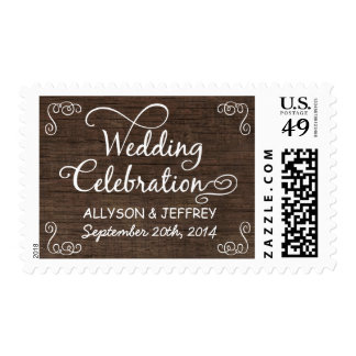Rustic Wood Wedding Celebration Postage
