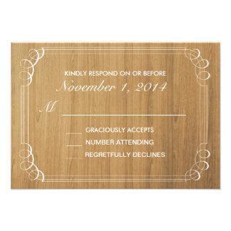 Rustic Wood Wedding Invitation Response Card