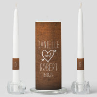 Rustic Wood Wedding Monogram Unity Candle Set