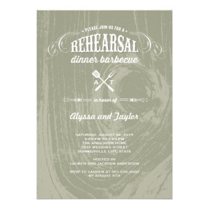 Rustic Wood Wedding Rehearsal Dinner BBQ Party Personalized Invitations