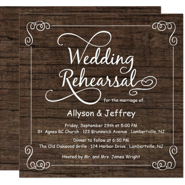rustic wood wedding rehearsal dinner invitations | zazzle, Wedding invitations