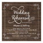 Rustic Wood Wedding Rehearsal Dinner Invitations