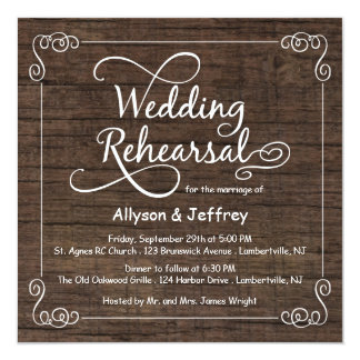 Rustic Wood Wedding Rehearsal Dinner Invitations