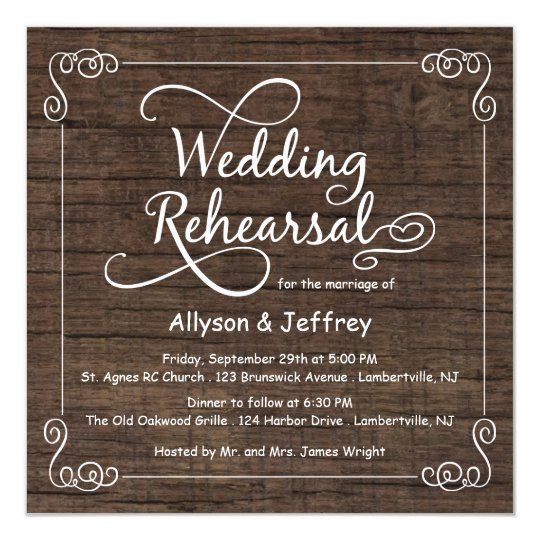 Rustic Wood Wedding Rehearsal Dinner Invitations Zazzlecom
