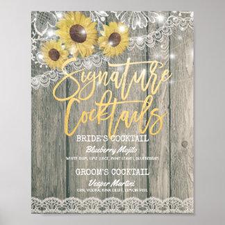 Rustic Wood Wedding Signature Cocktail Drink Menu Poster