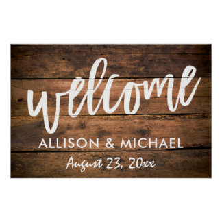 Rustic Wood Wedding Welcome Sign | EDITABLE COLOR