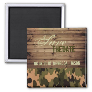 rustic wood western Camo Wedding save the date Magnets