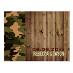 rustic wood western Camo Wedding save the date Postcards