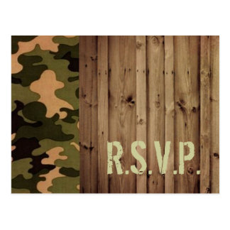 rustic wood western country Camo Wedding rsvp Postcard