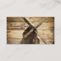 rustic wood western country farm windmill business card