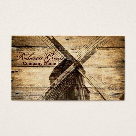 rustic wood western windmill Barn wedding Business Card