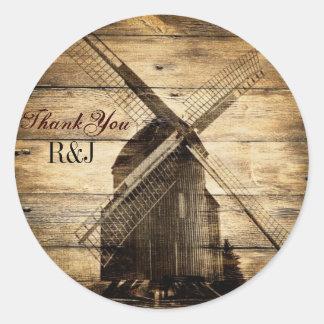 rustic wood western windmill Barn wedding Classic Round Sticker
