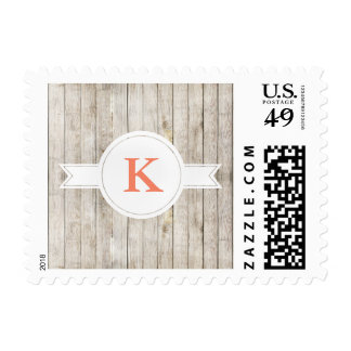Rustic Wood White Circle Banner Postage
