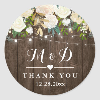 Rustic Wood White Floral Monogram Wedding Favor Classic Round Sticker