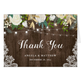 Rustic Wood White Floral String Lights Thank You Card