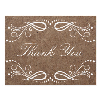 Rustic Wood white Floral Vintage Thank You Postcard