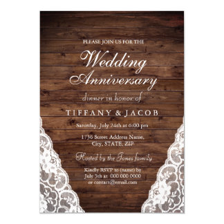 Rustic Wood White Wedding Anniversary Invite