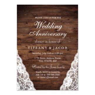 Rustic Wood White Wedding Anniversary Invite