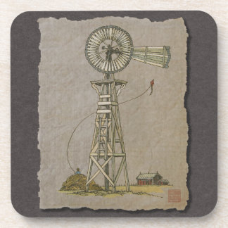 Rustic Wood Windmill Drink Coaster