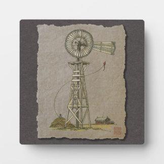 Rustic Wood Windmill Plaque