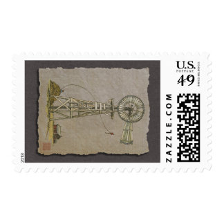Rustic Wood Windmill Postage Stamp