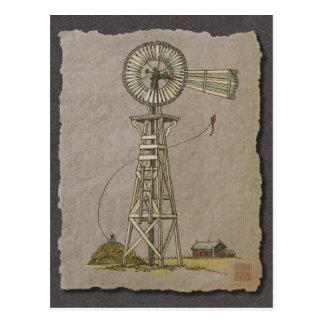 Rustic Wood Windmill Postcard