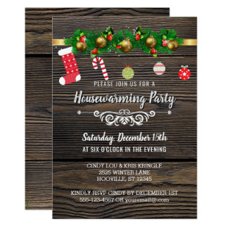 Rustic Wood Winter Holiday Housewarming Party Card
