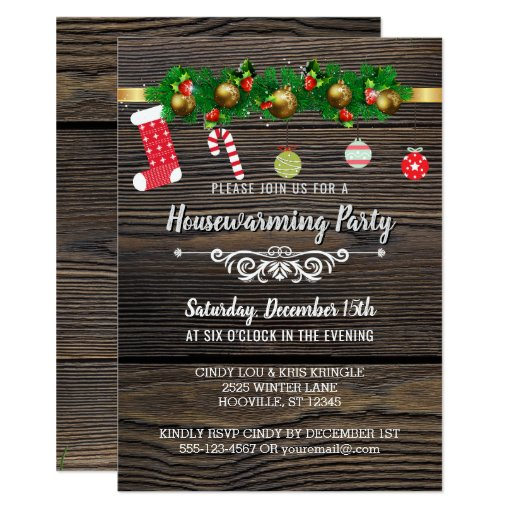Rustic Wood Winter Holiday Housewarming Party Invitation