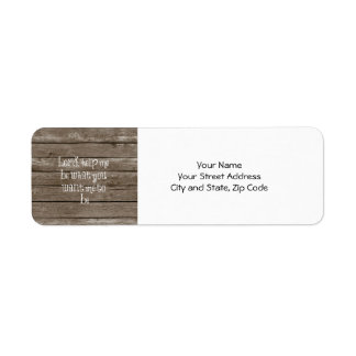Rustic Wood with Christian Quote Label