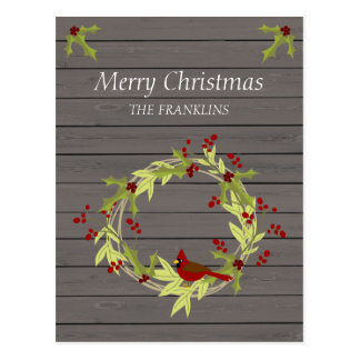 Rustic Wood with Christmas Wreath and Sweet Bird Postcard
