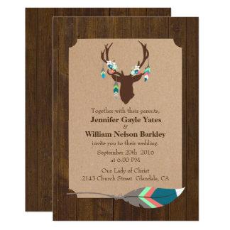 Rustic Wood with Deer Head Wedding Invitation