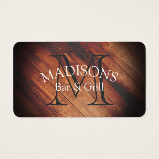 Rustic Wood with Monogram Business Card