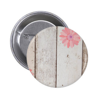 Rustic Wood With Pink Flowers Button