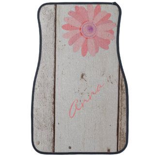 Rustic Wood With Pink Flowers Car Mats