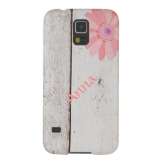 Rustic Wood With Pink Flowers Galaxy S5 Cover