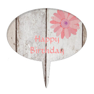 Rustic Wood with Pink Flowers Happy Birthday Cake Topper