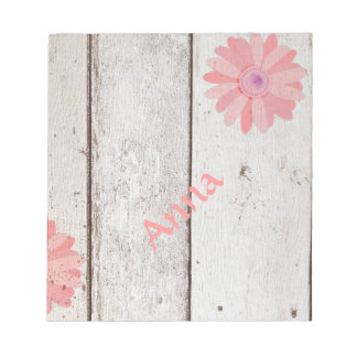 Rustic Wood with Pink Flowers Notepad